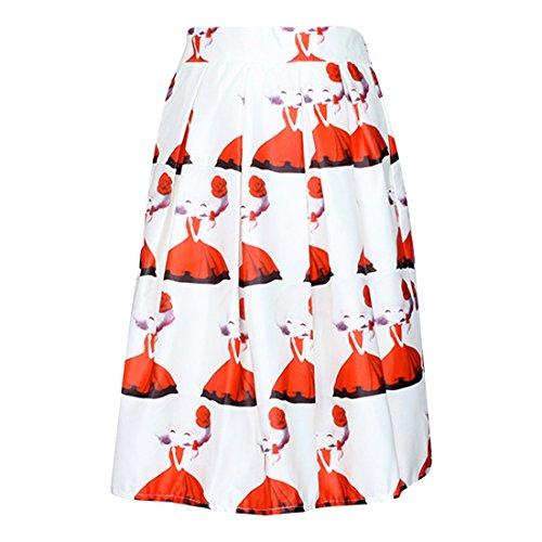 Nina De Las Mujeres De Dibujos Animados Impreso Faldas Plisadas Verano Completo Retro Midi Jupe Cintura Alta Blanco