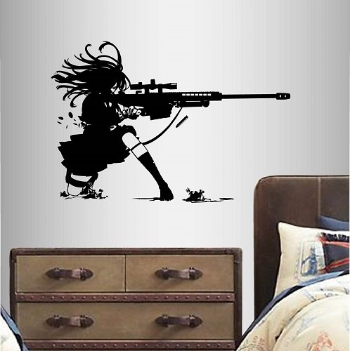 Wall-Vinyl-Decal-Home-Decor-Art-Sticker-Anime-Manga-Girl-Sniper-Rifle-Shooting-Kids-bedroom-Room-Removable-Stylish-Mural-Unique-Design-2359