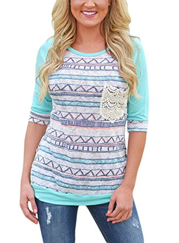 AlvaQ Women 3/4 Sleeve Striped Pattern Front Crochet Pocket Tops Blouses