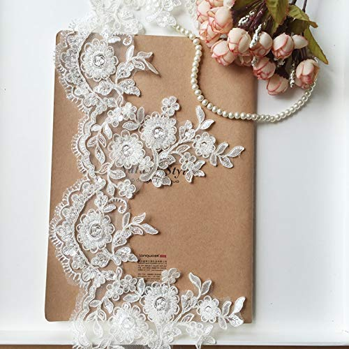Lace Crafts 1Yd//lot 16.5cm Wide Beige Beaded Three-Dimensional car Bone lace Bride Wedding Veil Dress ming Bottoming lace AC457