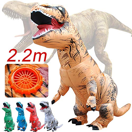 7ft 2.2M Adult Inflatable T-Rex Trex Dinosaur Blow Up Fancy Costume Suit Party Automatic Inflatable with Fan Party Toy (Red)