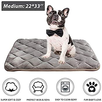 furrybaby Dog Bed Mat Soft Crate Mat with Anti-Slip Bottom Machine Washable Pet Mattress for Dog Sleeping (M 33x22'', Sliver Grey Mat)