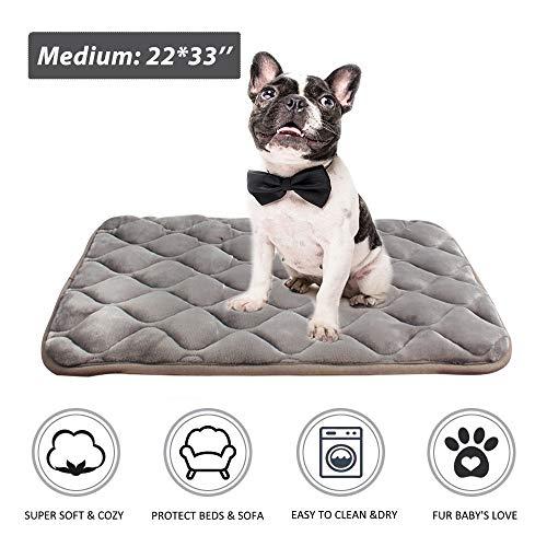 furrybaby Dog Bed Mat Soft Crate Mat with Anti-Slip Bottom Machine Washable Pet Mattress for Dog Sleeping (M 33x22