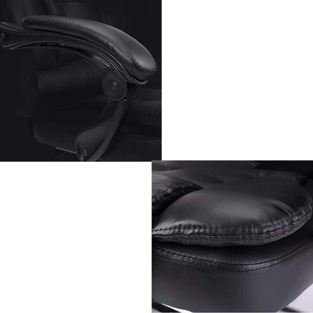 WYYY stolar kontorsstol lutningsfunktion verkställande svängbar stol ergonomisk höjdjustering 41 – 49 cm teleskopiskt fotstöd hållbar stark (färg: svart) Svart