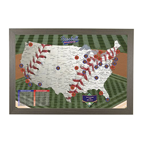 Push Pin Travel Maps Baseball Adventures with Barnwood Gray Frame and Pins - 27.5 inches x 39.5 inches ()