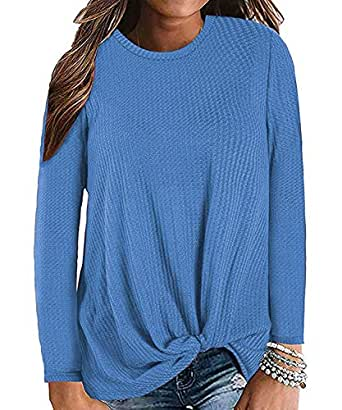 Century Star Women's Long Sleeve Blouse Twist Knot Waffle Knit Tunic Shirts Casual Loose Tops 02 Light Blue Small