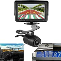 LeeKooLuu Rear View Backup Camera and Mirror Monitor Kit for Car/Vehicle/Truck/Van Reverse Rear-View Universal Color CCD 170°Viewing Angle WaterProof