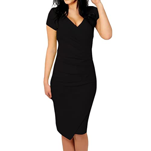 Sue&Joe Women's Tulip Dress Sheath Ruched Deep V-neck Knee Length Pencil Dresses