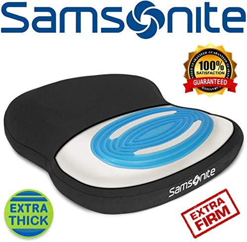 Samsonite SA6020 – Extra Firm & Thick Seat Cushion with Cooling Gel [Cooling effect is subjective, and varies by personal sensitivity] – Premium Memory Foam – Fits Most Seats – Non-Slip Bottom