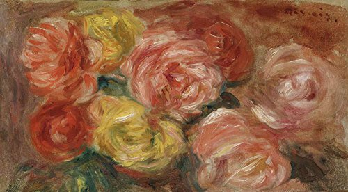 (JH Lacrocon Pierre-Auguste Renoir - Still Life with Roses Canvas Wall Art Rolled 60X35 cm (Approx. 24X14 inch) - Still Life Fruits Paintings Reproductions Prints)