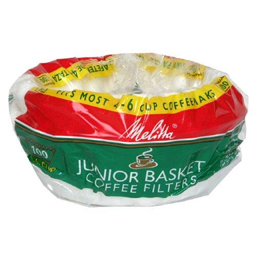 Melitta Junior Basket Coffee Filters White 100 Count
