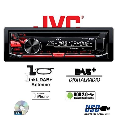 DAB+ USB Autoradio inkl DAB+ Digitalradio Antenne JVC KD-DB67 Einbauset f/ür Mercedes E- JUST SOUND best choice for caraudio