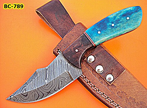 BC-789 Style Damascus Steel Skinner Knife – beutifull Rose wood & Cammel Bone Handle -