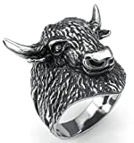 Aooaz Men's Ring, Bull Stainless Steel Ring For Men Silver Black Biker Punk Gothic Vintage