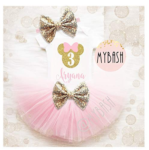 a03c7e790 Image Unavailable. Image not available for. Color: Personalize First  Birthday Pink Gold Birthday Outfit - Mouse ...