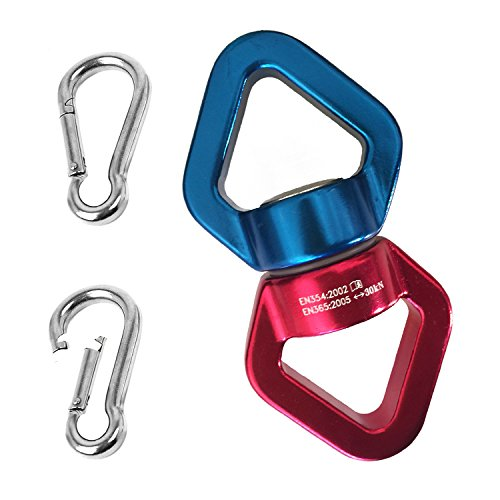 Alloy Spinner Swivel Connector Rotator Accessory + 2 steel carabiners by TigerKit | 360 degrees Rotor for Rope Climbing, Hammock, Swing Hanging, chairs, yoga, Aerial Setting Safety Rotational Device (Hardware Mt Tent)
