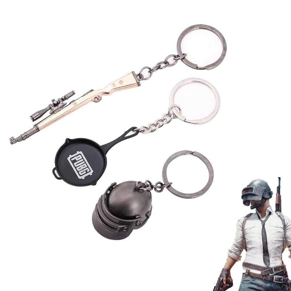 Teepao 3 PCS Small PUBG Keychain Playerunknown's Battlegrounds Level 3 Key Chain Charm Accessories Cool Keychain Gadgets Souvenir Gifts Collection for Car Keys Wallet Backpack Pendant