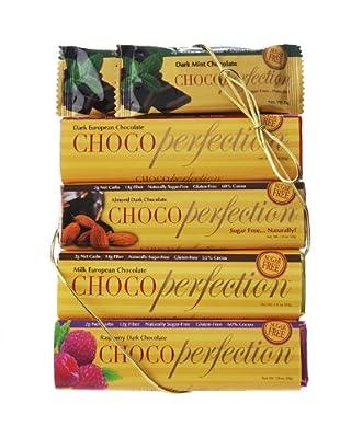 ChocoPerfection 6-bar Box, Variety Package, 2 Dark Mint, 1 Dark, 1 Milk, 1 Dark Raspberry and 1 Dark Almond Bar from LowCarb Specialties, Inc.