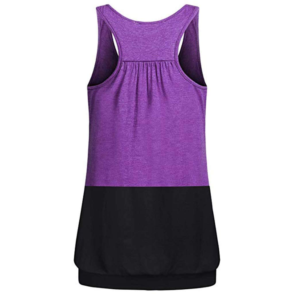 Kiminana Women Tank Top, Round Neck Lightweight Yoga Camisole for Workout Gym Fitness Racerback Workout Tank Top Blouse Purple