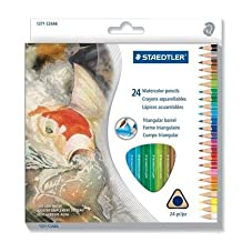 Staedtler 24 Colors Water Soluble Coloured Watercolor Watersoluble Pencils Set