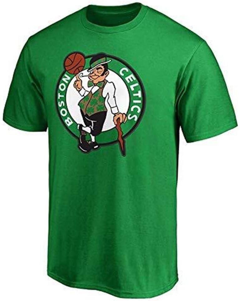 LLSDLS Camiseta de la NBA Traje de Entrenamiento Boston Celtics Letras Mangas Cortas Camiseta Casual Tops Deportivos for Hombres Camiseta Color : Green, Size : S