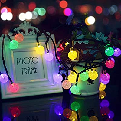 Solar String Lights Outdoor 30 Led 21Ft Solar Power Waterproof Crystal Ball Fairy Twinkle Lights Multicolor for Decor Indoor Garden Corridor Party Wedding Chirtmas Crystal Ball Multi-Color
