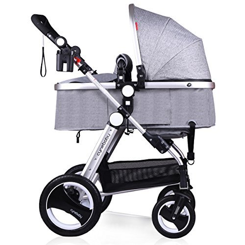 Infant Baby Stroller for Newborn and Toddler - Cynebaby Convertible Bassinet to Stroller Baby Carriage - Linen Grey