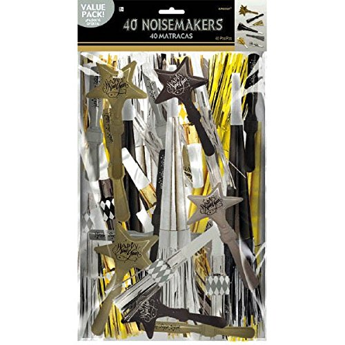 Amscan Fun Filled New Year Party Assorted Noisemakers Value Pack, Black,Gold,Silver, 15