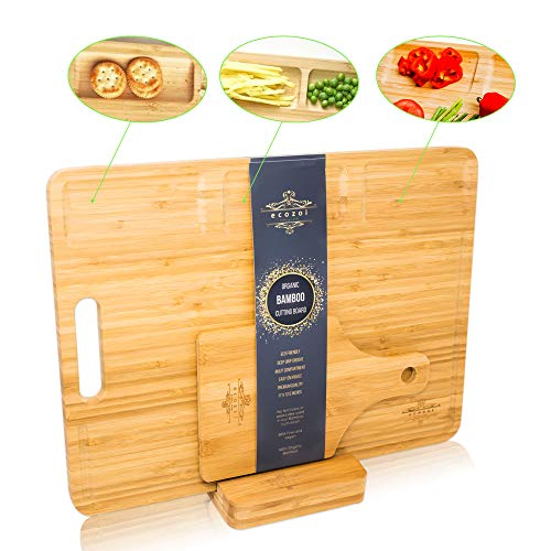 Ecozoi EXTRA LARGE Bamboo Cutting Board with Knife Sharpener, 3 Piece Set: Chopping Board Butcher Block with 3 Compartments and Juice Groove, Pizza Serving Board, and Carving board Holder