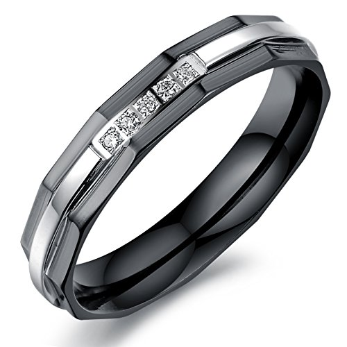 OPK Jewelry Romantic Black Stainless Steel Cubic Zircon Couple Rings Wedding Band Rings Set,Women Size 8