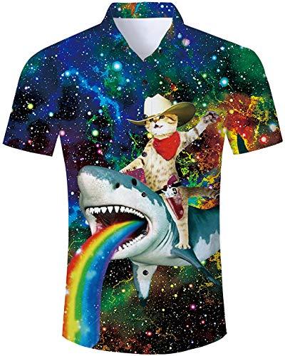 TUONROAD Men's Summer 3D Printed Funky Short Sleeve Shirt Cowboy Cat Riding Shark with Rainbow Relaxed Holiday Button Down Shirt Casual Regular Hawaiian Aloha Shirt Ugly Hawaii Luau - Cowboy Printed