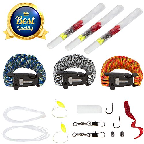 3 Pack Survival Bracelets  Size  Small  With Built In Fire Starter  Fishing Kit  550 Paracord  Rescue Whistle  Tinder  And Cutting Knife