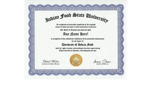 Novelty Amazon amp; Custom Customized com Joke Toys Doctorate Food - Gift Games Certificate Indian Degree Item Diploma funny Gag