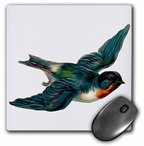3dRose LLC 8 x 8 x 0.25 Inches Mouse Pad, Vintage Barn Swallow Bird Illustration - Barn Birds Swallows