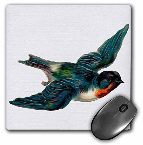 3dRose LLC 8 x 8 x 0.25 Inches Mouse Pad, Vintage Barn Swallow Bird Illustration (mp_104615_1)