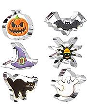 Crethink Halloween Cookie Cutters Set 6 Stuks Cookie Cutter Vormen RVS Biscuit Cutter Pompoen, Vleermuis, Geest, Heks Hoed, Kat