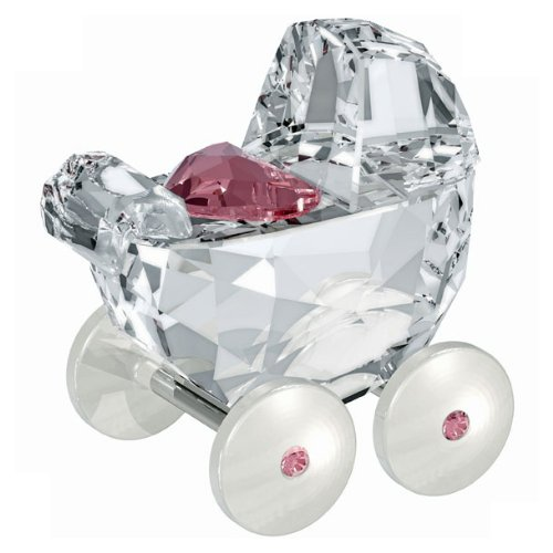 Swarovski Rose Figurine (Swarovski Baby Carriage, Crystal and Light Rose)