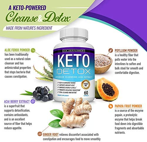 Keto Detox Pills Advanced Cleansing Extract – 1532 Mg Natural Acai Colon Cleanser Formula Using Ketosis & Ketogenic Diet, Flush Toxins & Excess Waste, for Men Women, 60 Capsules, Lux Supplement 6