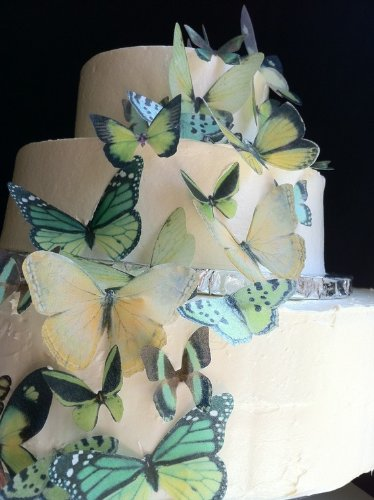 Edible Butterflies - Set of 30 Green Assorted- Cake Decorations, Cupcake Topper
