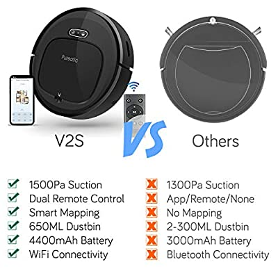 Pureatic VS2 Robot Vacuum Cleaner with 1500PA Strong Suction, Smart Mapping, Compatible with Alexa, App Control, Automatic Self-Charging Robotic Vacuum, Good for Pet Hair, Thin Carpet, Hard Floors ...