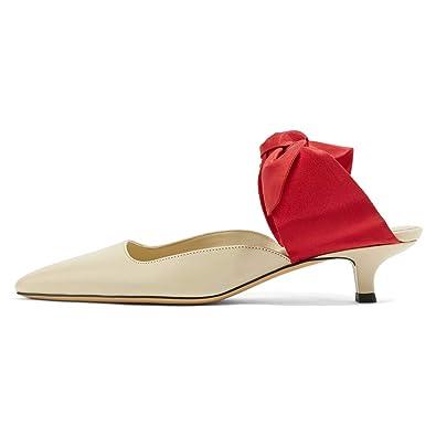 4a9f17bfd1d FSJ Women Closed Pointy Toe Low Kitten Heel Dress Pumps Mules Sandals  Comfort Slip On Slide
