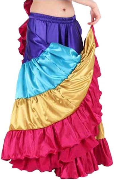 Bluish Purple Satin 6 Yard 5 Tiered Gypsy Skirt Belly Dance Ruffle Flamenco Jupe