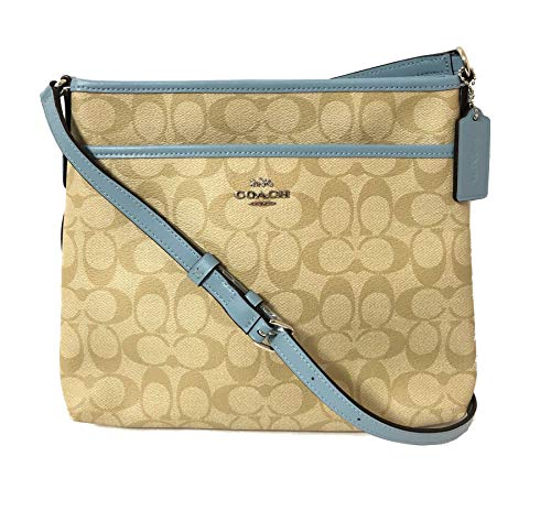 Coach Signature Zip File Crossbody Bag (SV/Lt Khaki/Cornflower)