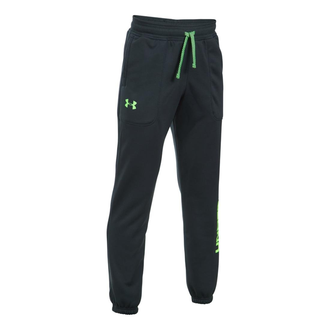 Under Armour Boys Armour Fleece Jogger, Anthracite/Lime, XS (7 Big Kids) x One Size