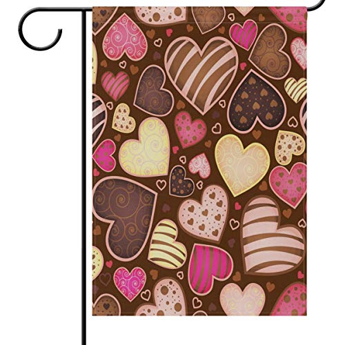 (Valentine's Day Garden Flag 12 x 18 Double Sided, Chocolate Truffle Candy Sweet Heart Love House Yard Flags Welcome Spring Outdoor Indoor Banner for Wedding Party Home Valentines Day Decorations)