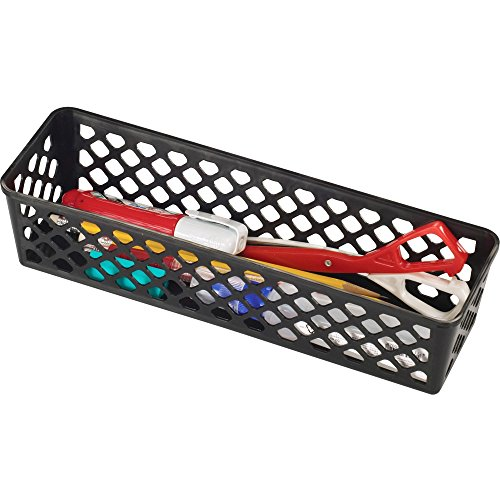 OIC(R) 30% Recycled Plastic Supply Baskets, Long, Black, Pack Of 3