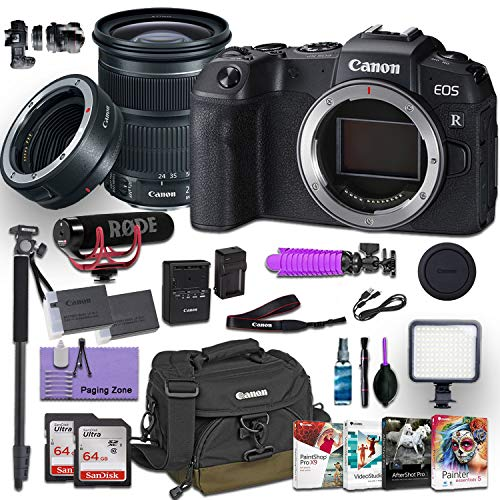 Canon EOS RP Mirrorless Digital Camera with EF 24-105mm f/3.5-5.6 STM Lens and Canon Mount Adapter EF-EOS R kit Bundled w/Deluxe Accessories (Rode Microphone, 4-Pack Photo Editing Software and More)