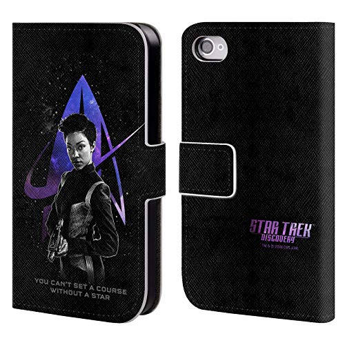 Official Star Trek Discovery Michael Burnham Discovery Nebula Characters Leather Book Wallet Case Cover Compatible for iPhone 4 / iPhone 4S (Star Trek Iphone 4 Case)