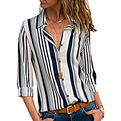 Dearlovers Womens Striped Shirts Loose Long Sleeve Button Down Blouses Tops