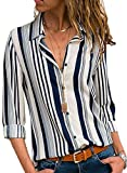 Dearlovers Womens Long Sleeve Shirts Button up Color Block Stripe Blouses Casual Tops White L